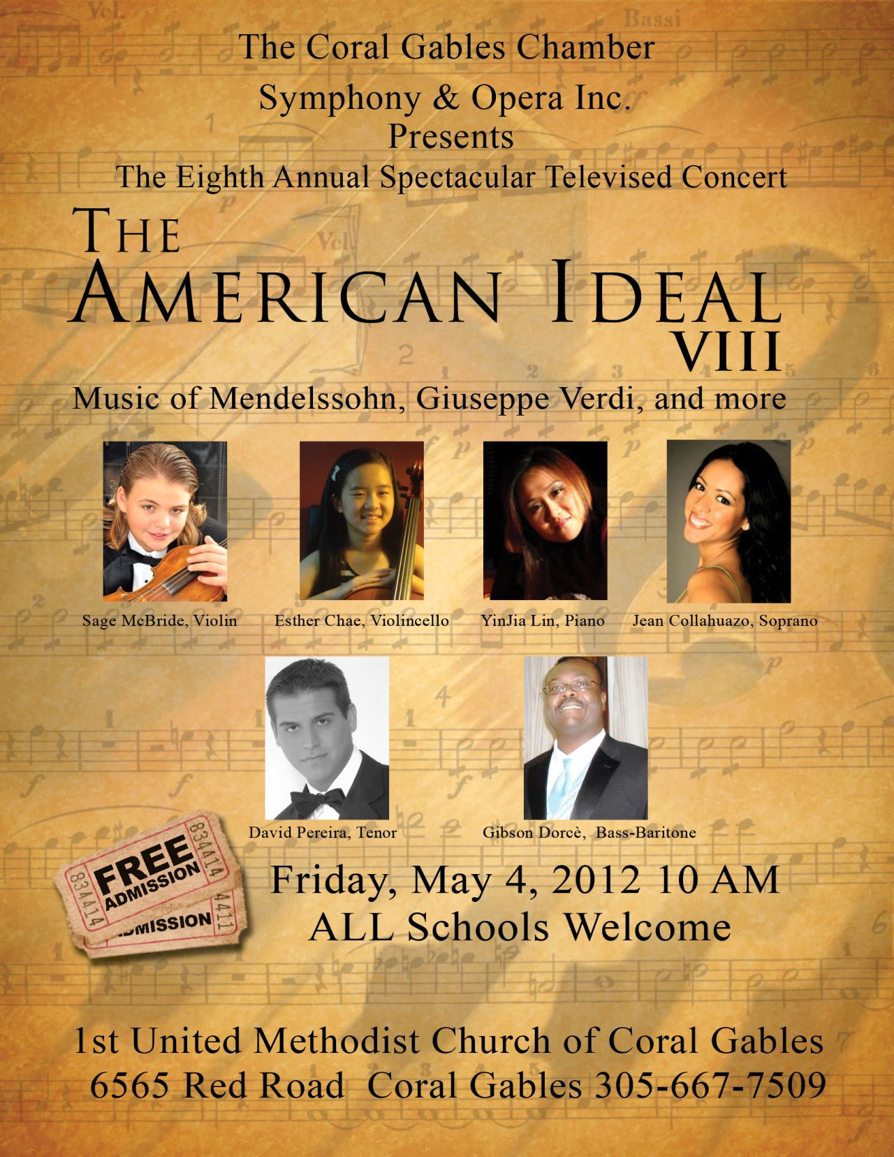 American Ideal VIII (AI8) Coral Gables Opera May 2012 1st Methodist Church Coral Gables